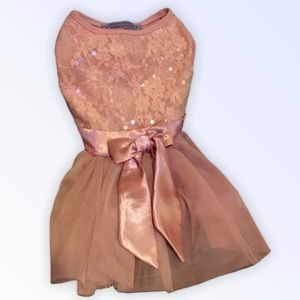 Pawpatu dog sequin and lace pink dress size medium